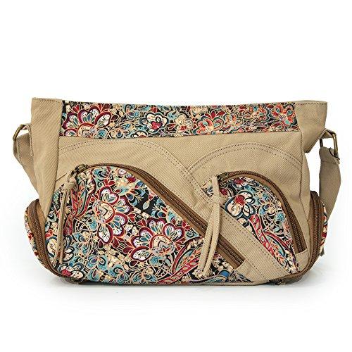 Rong Hong Damen Handtasche Canvas Vintage Große Schultertasche Umhängetasche Multi-Pocket Braun (Multi-pocket Damen-geldbörse)