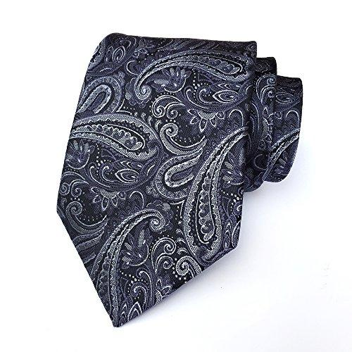 BomGuard Krawatte Paisley Anthrazit gemustert Blumen 8cm Herrenkrawatte Krawatte Hochzeitskrawatte Krawatte Hochzeit