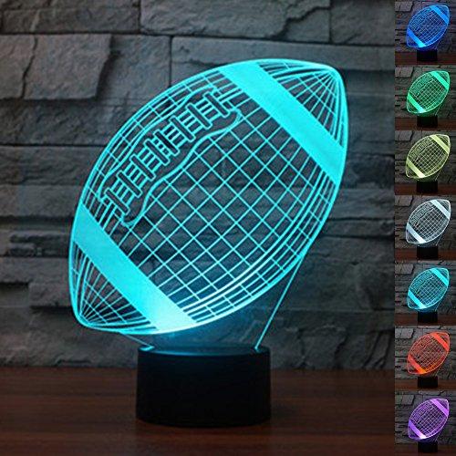 Luz de Noche LED Ilusión 3D Lámpara de Mesa de Cabecera 7 colores Cambiando la iluminación de dormir con el botón de tacto inteligente Lindo regalo de calentamiento actual Decoración creativa ideal de arte y artesanía (Rugby)