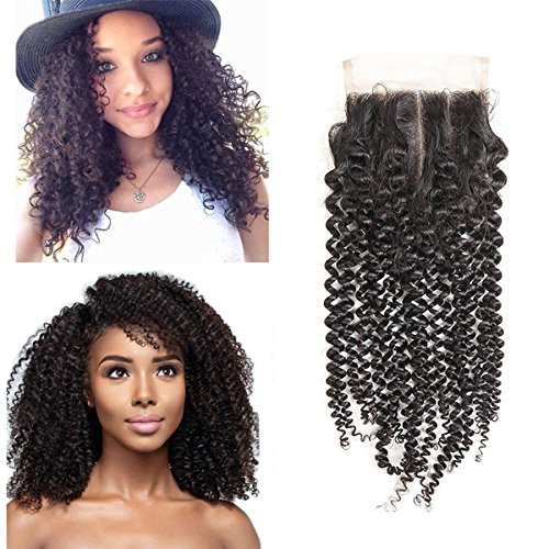 Giannay Middle Part Kinky Curly 4*4 Top Lace Closure with Baby Hair Lightly Bleached Knots 100% Virgin Brazilian Human Hair Closure ( 10 Inch Natural Color ) for Black Women