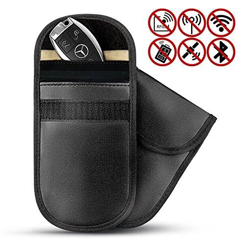 Maison & White 2 X Autoschlüssel Signalblocker Tasche | Diebstahlsicherer schlüsselloser Fob RFID Fall | RF Blocker | M&W