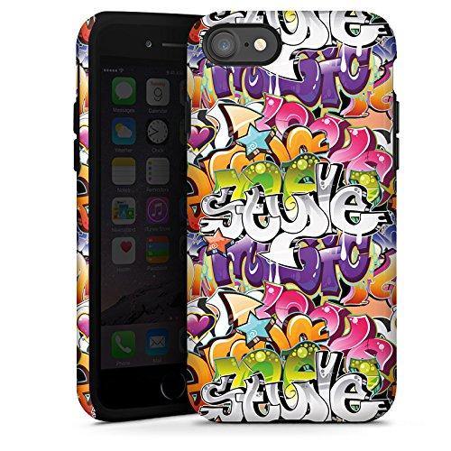 Apple iPhone X Silikon Hülle Case Schutzhülle Graffiti Style Schrift Tough Case glänzend