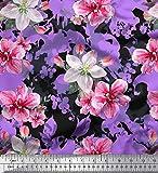 Soimoi Lila Satin Seide Stoff Blätter & Azalee Blume Stoff