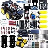 Elegoo Kit Voiture Robot V2.0 Arduino UNO Projet Car Avec Tutoriel en Français avec UNO R3 , Module de Suivi de Ligne, Capteur Ultrason, Module Bluetooth ect. Dernière Voiture Jouet Educatif et Intelligent pour Adolescent