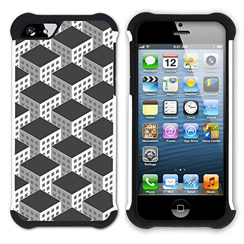 Graphic4You BLACK STRIPES Muster Hart + Weiche Kratzfeste Hülle Case Schale Tasche Schutzhülle für Apple iPhone SE / 5 / 5S Design #10