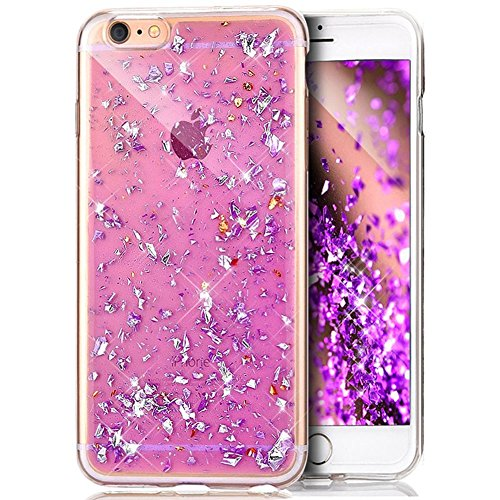 iPhone 8 Plus Cover, iPhone 7 Plus Custodia, iPhone 7 Plus / 8 Plus Custodia Silicone, JAWSEU Moda Stile Lusso Cristallo di Bling Brillante Sparkle Glitter Custodia per iPhone 7 Plus Back Cover Case U Viola