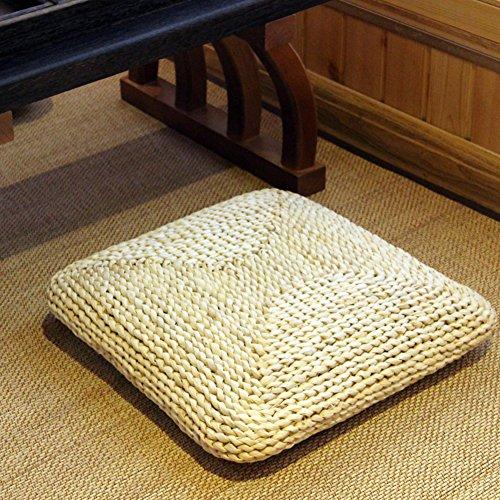 hxxxy Quadratische Natürlichen Tatami-matten Seat Dämpfung,Japanischen Futon Bodenkissen Stuhl-Pad-A 45x45cm(18x18inch) (Matratzenauflagen Natürliche)