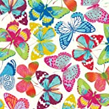 Entertaining-with-Caspari-Gift-Wrapping-Paper,-Butterflies-Ivory,-2-Sheets
