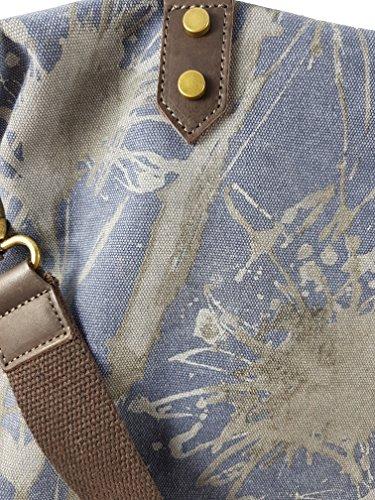 Canvas Echtleder Shopper Damenhandtasche | jede ein Unikat! Brandneu aus Italien Blau V.1