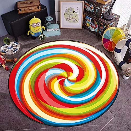 WJNSTNBL Baumwolle Krabbeldecke groß weich gepolstert für Baby KinderChildren's Round Home Print Crystal Velvet Climbing mat, _