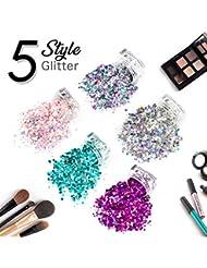 5 Pcs De Qualité Cosmétique Holographique Chunky Glitter, Corps et Cheveux Glitter pour Festival Party Masquerade De Noël, Sûr Non Toxique