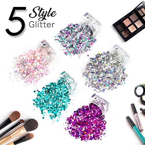 Chunky Glitter Festival Glitter Körper Glitter, DIY Gesicht Make-up Silber Glitter Haar Nagel für Musik Festival Hochzeit Maskerade Weihnachten - 5 Stück von einem Set (Pink Lady, Eisige Schönheit, Lächeln Engel, grüne Pixy und Party Queen)