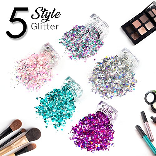 5 Stück Kosmetik Grade holographische Chunky Gesicht Glitter -