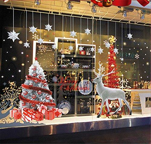 Ufengke Feliz Navidad Árbol Navidad Plata Alce Estrellas