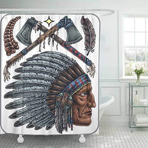 QAQ Starry sky Cortinas De Ducha con Ganchos Águila Dibujados A Mano De Viejos Nativos Americanos Tatuajes Indian Warrior Western Animal Axe Bird Decoración del Baño 180X180 Cm