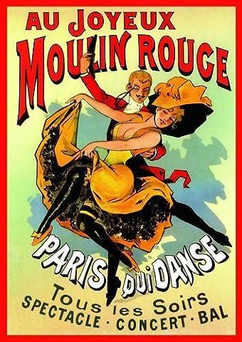 French Art Nouveau Theatre Cabaret MOULIN ROUGE JOYEUX dancing couple 23.5 x 16.5in (59.4 x 42cm) A2 Size MINI PAPER
