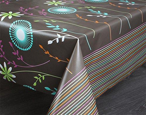 normani Tischdecke Tischtuch mit Muster Motiv - Blumen Rosen - Schutzdecke Tischläufer Farbe Braun...