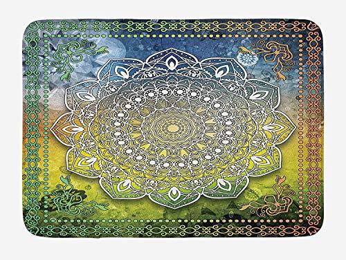 ZiJface Ethnic Bath Mat, Mystic Asian Mandala Zen Culture Chakra Karma Calmness and Harmony Icon Boho Design, Plush Bathroom Decor Mat with Non Slip Backing, 23.5 X 15.7 Inches, Multicolor