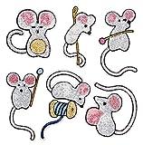 Yalulu 6 Stück Süße Maus Pailletten DIY Stickerei Spitze Aufnäher Aufbügler Aufnähen Applikation Iron on Patches Für T-Shirt Jeans Hut Dekor