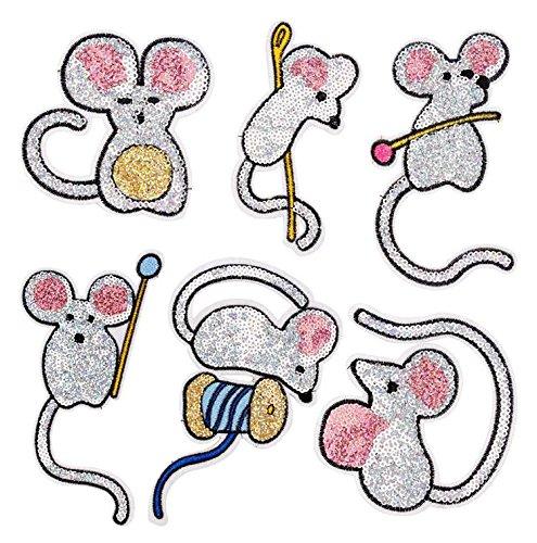 Yalulu 6 Stück Süße Maus Pailletten DIY Stickerei Spitze Aufnäher Aufbügler Aufnähen Applikation Iron on Patches Für T-Shirt Jeans Hut Dekor (Niedliche Kaktus Kostüm)