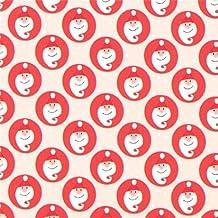 Tissu de Noël Copenhagen Print Factory taupe clair, Pères Noël et ronds rouges