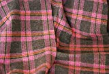 100% rein Wolle Karo Tweed Stoff - Pink - Rosa, Sample 10cm