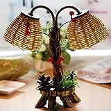 Wofeide Tischlampe Kiefer Holz Doppel Lampe Handwerk Antik Garten Stroh Nachtlicht Dekoration Lampe