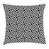 RAINNY Abstract Throw Pillow Cushion Cover, Bullseye Circles Pattern Monochrome Geometric Composition Spiral Illustration, Decorative Square Accent Pillow Case, 18 X 18 inches, Black and White