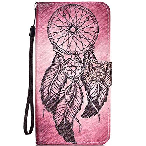 LMAZWUFULM Hülle für HTC Desire 650/628 / 626G 5.0 Zoll PU Leder Magnet Brieftasche Lederhülle Schwarzer Traumfänger Muster Stent-Funktion Schutzhülle Flip Cover für HTC 650/628 / 626G