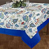 #10: Cloth Fusion Cotton Center Table Cover 4 Seater - (40x60 Inch, Blue)