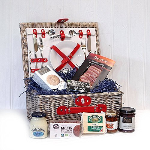 Retro Red Chiller 2 Person Fitted Picnic Hamper Basket with an Organic Gourmet Food Selection (Includes 8 Items) - Gift ideas for Christmas, Birthday, Anniversary & Congratulations presents