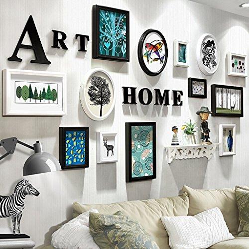 QX IAIZI Kreative Massivholz Fotowand 13 Rahmen, Brief Bilderrahmen Rack Wandbehang Kombination Für Hochzeitsgeschenk Schlafzimmer Wohnzimmer (Farbe : B)