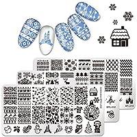 Nacido Pretty Nail Art Stamping placa Navidad invierno Papá Noel Copo de nieve renos árbol Bell plantilla placa de la imagen de impresión de uñas