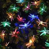Luces Solar Exterior Tira Lamparas led de Decoración/ Garden iluminación /luces navidad de 6,4 metros, ,30 LEDs de decoración con de 8 modos de cambia las formas ,impermeable, perfecto para Fiestas, Boda, Arbóles Navidad, Jardín, Terraza y al Aire Libre (Multicolor)
