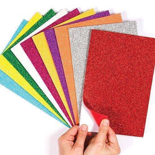 Zap Impex® Verschiedene Farbe Glitzer Schaum Blatt klebrig zurück Schaum Blätter Packung mit 10 glänzend Handwerk Papier farbigen Bau Karte Glitter für DIY Handwerk Scrapbooking