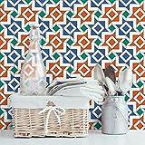 Apalis FliesenTapete Vliestapete Alhambra Mosaik Tapete mit Fliesenoptik Fototapete Breit | Vlies Tapete Wandtapete Wandbild Foto 3D Fototapete für Schlafzimmer Wohnzimmer Küche | orange, 106155
