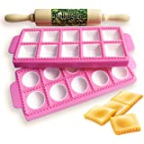 Gladworts Raviolini Pasta Maker Confezione Stampi per Ravioli e Tortelli, Stampo per Ravioli Grandi Tondi + Quadrati, Plastic