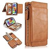 Galaxy S5 Hülle, i9600 Hülle, Gift_Source [ Braun ] Leder Phone Case Hülle Brieftasche mit Kartenfächer [Geldscheinfach mit Reißverschluss] Premium Börse Tasche mit abnehmbaren Magnet Handy Schutzhülle für Samsung Galaxy S5 i9600