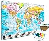 XXL Pinnwand Weltkarte - Wandbild 120 x 80 cm, 3,5 cm Tiefe – Premium 2in1 Memotafel mit Kork & 20 Markierfähnchen/Pinnnadeln - Lernkarte/Karte mit Flaggen 2018 - MAPS IN MINUTES™