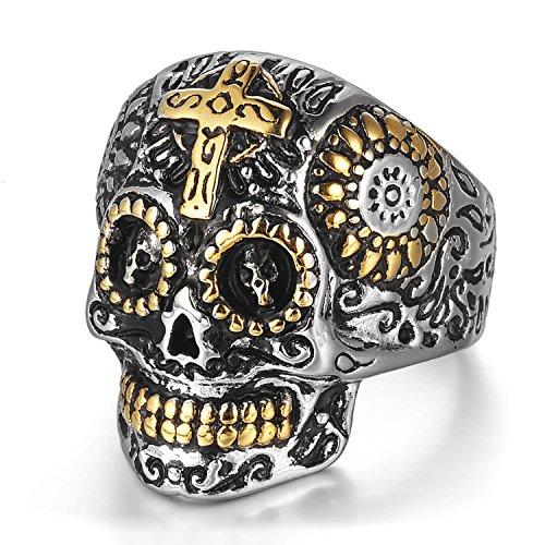 Edelstahl Kreuz Ringe Aus Skull (mendino Herren Edelstahl Ring Kreuz Gothic Skull Ghost Head Biker Halloween Punk Rock Gold Silber Farbe Poliert Vintage Schmuck - 65 (20.7))
