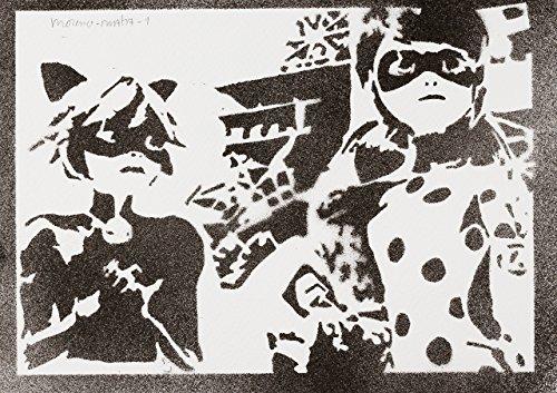 Miraculous Geschichten Von Ladybug Und Cat Noir Poster Plakat Handmade Graffiti Street Art - Artwork
