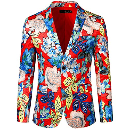 Kostüm Joker Stadt Party - friendGG Herren Anzug Party KostüM Modisch Normaler Schnitt Festliche AnzüGe Suits Einfarbig Kleid Floral Revers Slim Fit Stilvolle Blazer Mantel Jacke SommeranzüGe Verschiedenen Drucken Top Bluse