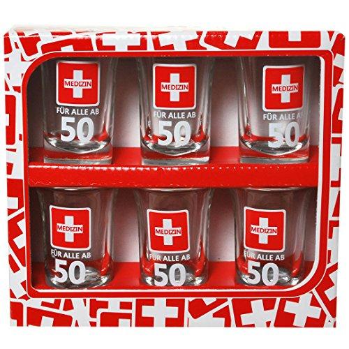 Udo Schmidt Erste Hilfe Schnapsgläser Set zum 50. Geburtstag