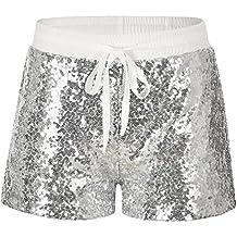 Byqny Damen Sequin Shine Glitter Shorts Paillette Verschönert Party Kurze  Hose b04899e25a