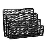 Organizador de cartas vertical de malla metálica para correo, documentos, escritorio, archivos, papel, soporte organizador de escritorio negro con 3 compartimentos verticales