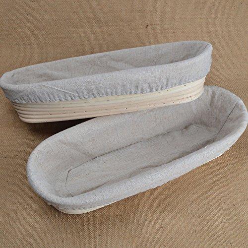 2pcs 14/35cm Long Banneton Brotform Sourdough Dough Bread Proofing Proving Rattan Basket With Linen Liner UK New by ifsecond Bread Basket Liner