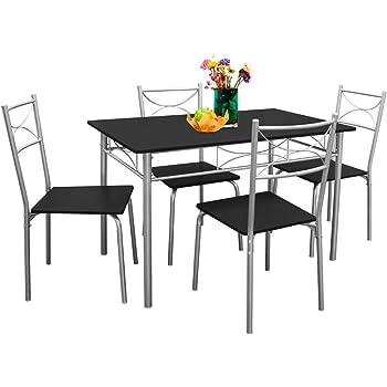 Deuba Ensemble Tables Chaises Paul Salon Cuisine Terrasse Table Manger Set 5 Pcs