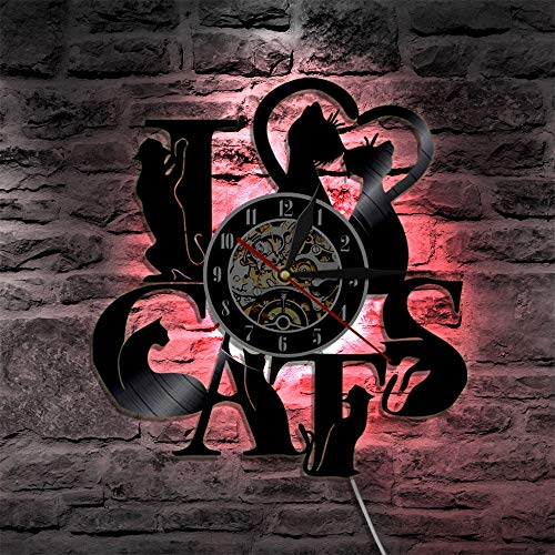 (L@ily LED Schallplatte Wanduhr Fernbedienung Schalter, Persönlichkeit Retro Wohnzimmer Dekoration, Haustier Katze Wanddekoration, 12 Zoll)