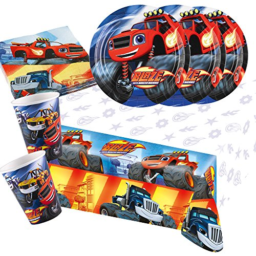 37-teiliges Party-Set Blaze und die Monster-Maschinen - Teller Becher Servietten Tischdecke für 8 Kinder