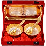 Shreeng Silver & Gold Plated 2 Mini Flower Bowl With Spoon With Tray